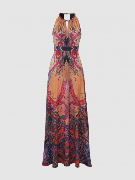 Deep V-Neck Tattoo Long Halter Dress / Colorful