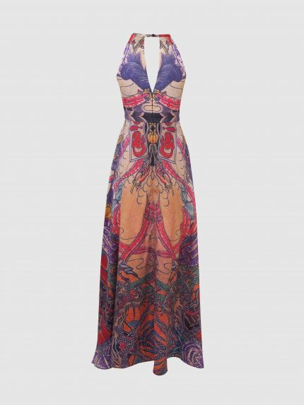 Deep V-Neck Tattoo Long Halter Dress / Colorful / Back