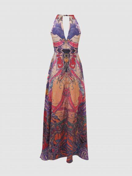 שמלת קולר מקסי מקועקעת עם מחשוף וי עמוק / צבעוני / גב