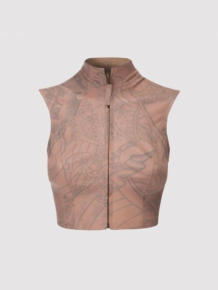 Mandarin Collar Tattoo Leather Vest / Nude