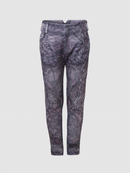 מכנס נינג'ה מקועקע מרשת עם חורים גדולים / שחור/לבן