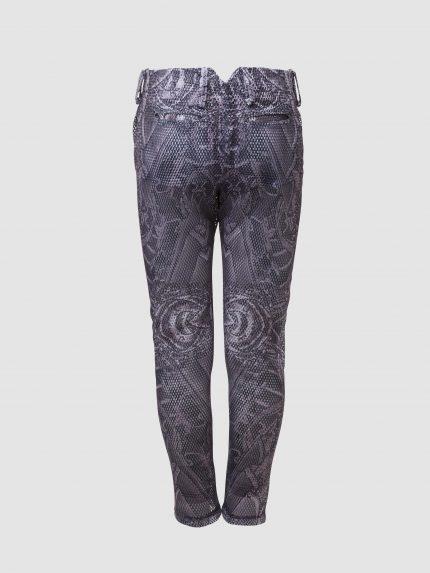 מכנס נינג'ה מקועקע מרשת עם חורים גדולים / שחור/לבן / גב