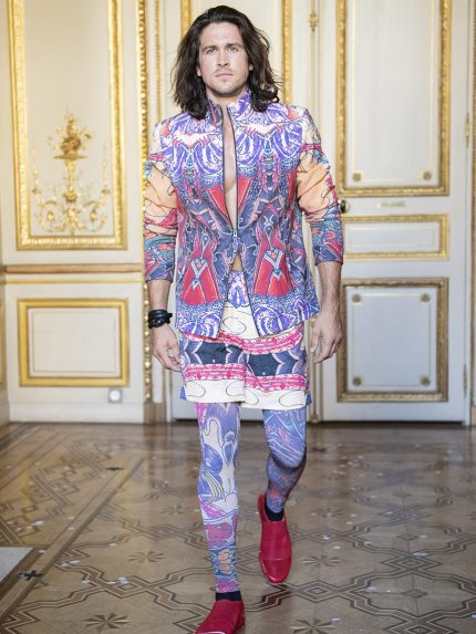 Colorful Tattoo Biker Jacket, Hip-Hop Shorts And Meggings - Paris Fashion Week's Flying Solo Show (Photo: imaxtree)