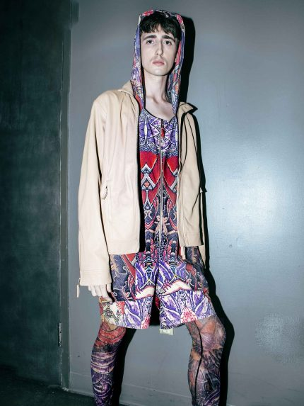 Colorful Tattoo Halter Hooded Shirt Jumpsuit - NYFW's Flying Solo Runway Show - Backstage (Photo: Gilad Kavalero)