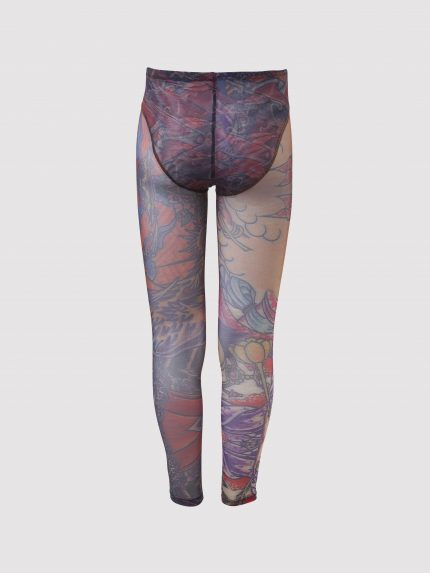 See-Through Tattoo Meggings With Opaque Dense Mesh Speedo Cut Briefs / Colorful / Back