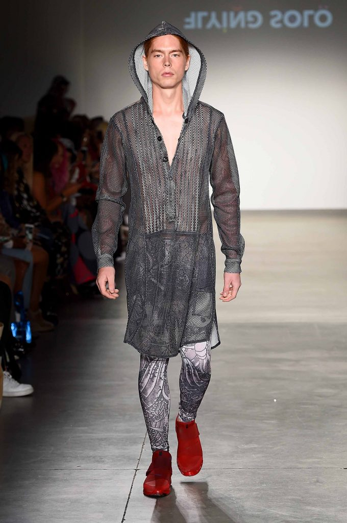 Flying Solo's September 2019 NYFW show - black and white tattoo jelabiya and meggings (photo: Getty Images)