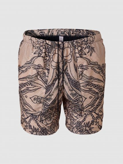 Perforated Tattoo Swim Shorts / Nude