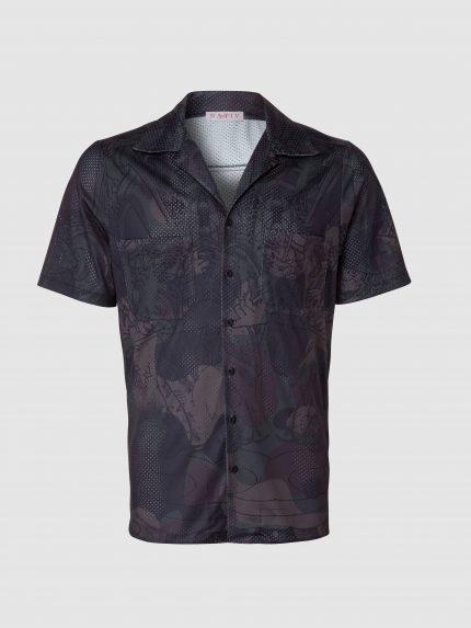 חולצה גברית מקועקעת עם שרוולים קצרים / ירוק הסוואה