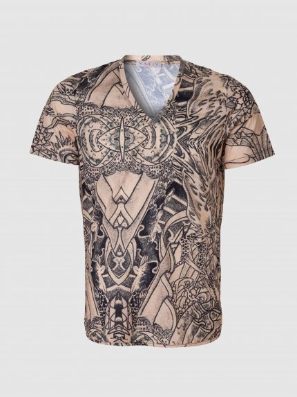 Short Sleeves Tattoo Men V-neck T-Shirt / Nude