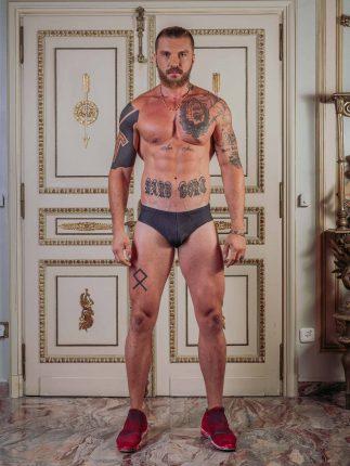 Speedo-Style Tattoo Swim Briefs / Green Camouflage (Photo: Tom Hooliganov)