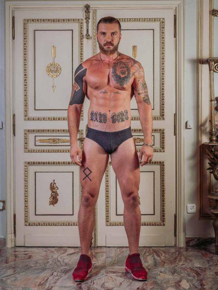 Speedo-Style Tattoo Swim Briefs / Green Camouflage