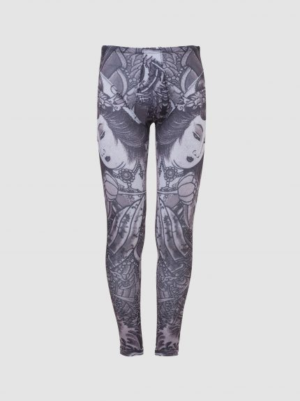 Lycra Tattoo Meggings With Speedo Cut Briefs / Black and White