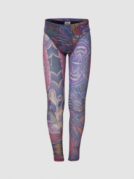 Opaque Tattoo Meggings With Speedo Cut Briefs / Colorful